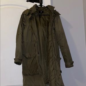 Olive Puffer Jacket with Hood